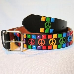 Accessories - Rainbow studded peace ☮️ sign leather belt